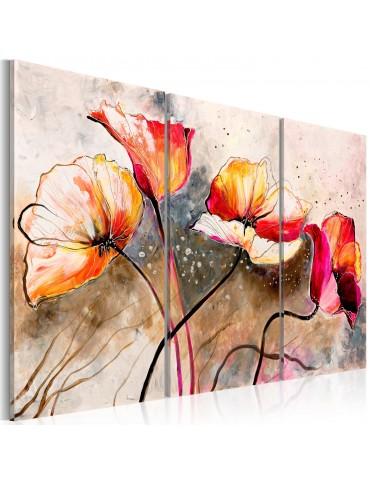 Tableau peint à la main - Dans des coquelicots A1-N2606MK