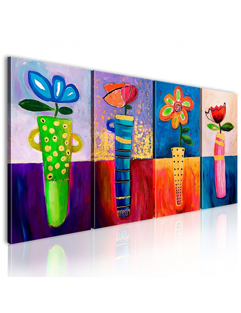 Tableau peint à la main - Arc-en-ciel de fleurs A1-N2621MK