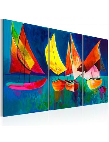 Tableau peint à la main - Voiliers multicolores A1-N2627MK