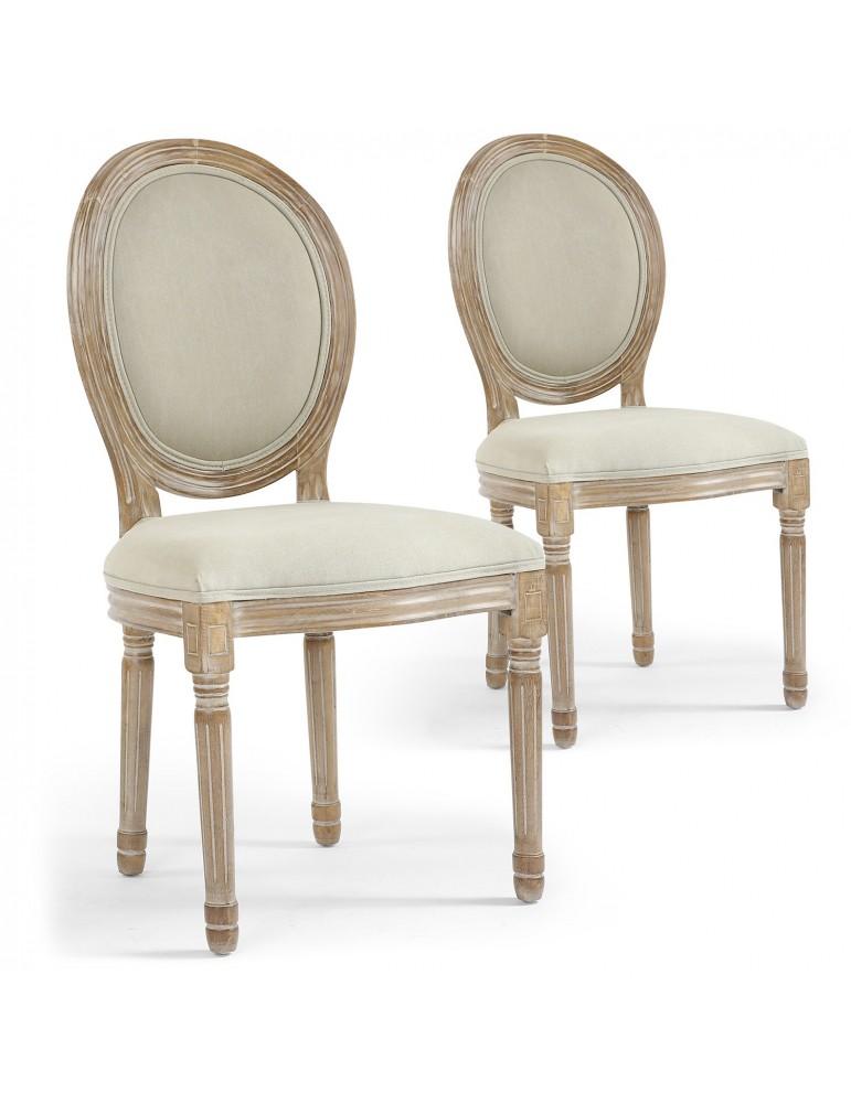 Lot de 2 chaises de style médaillon Louis XVI Tissu Beige 24501ksf25002