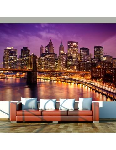 Papier peint - Manhattan et Pont de Blooklyn la nuit A1-F4TNT0432-P