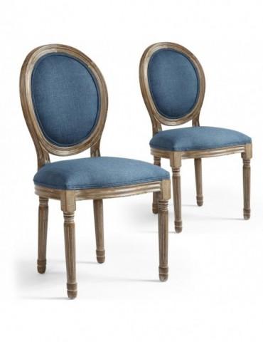 Lot de 2 chaises de style médaillon Louis XVI Tissu Bleu 24501ksf25013