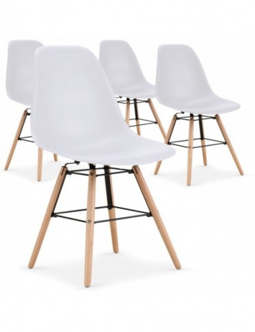 Lot de 4 chaises scandinaves Lisa Blanc 8056lblanc