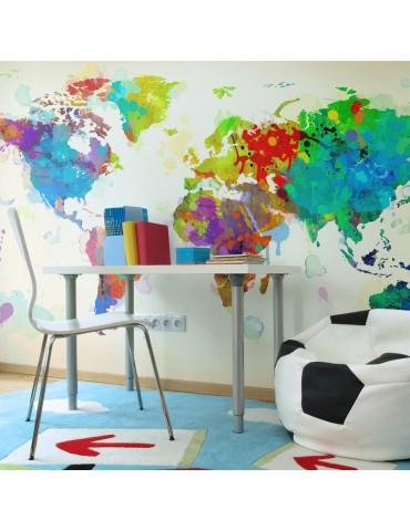 Papier peint - Paint splashes map of the World A1-F4TNT0024-P