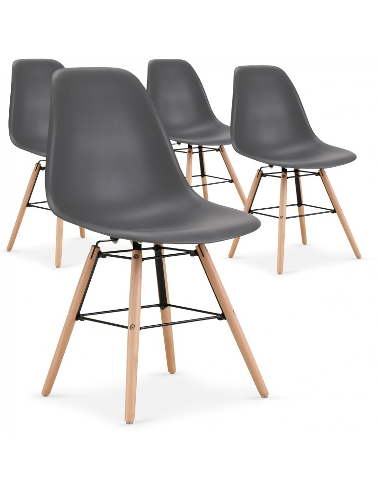 Lot de 4 chaises scandinaves Lisa Gris 8056lgris