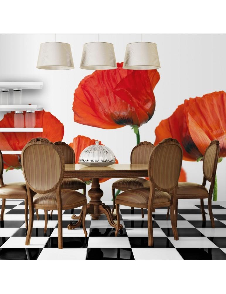 Papier peint - Coquelicots rouges sur fond blanc A1-LFTNT1341