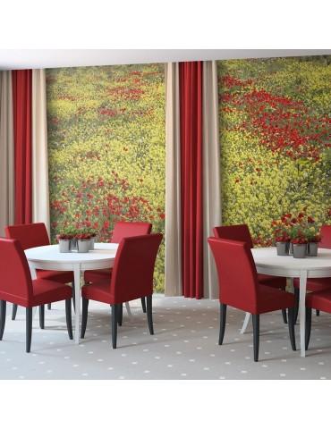 Papier peint - Prairie - fleurs jaunes et rouges A1-LFTNT1387