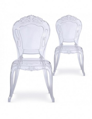 Lot de 2 chaises royales Crown Transparent cnpc1006transparent