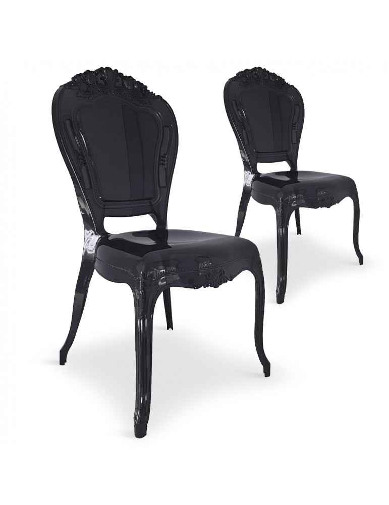 Lot de 2 chaises royales Crown Plexi Noir cnpc1006black