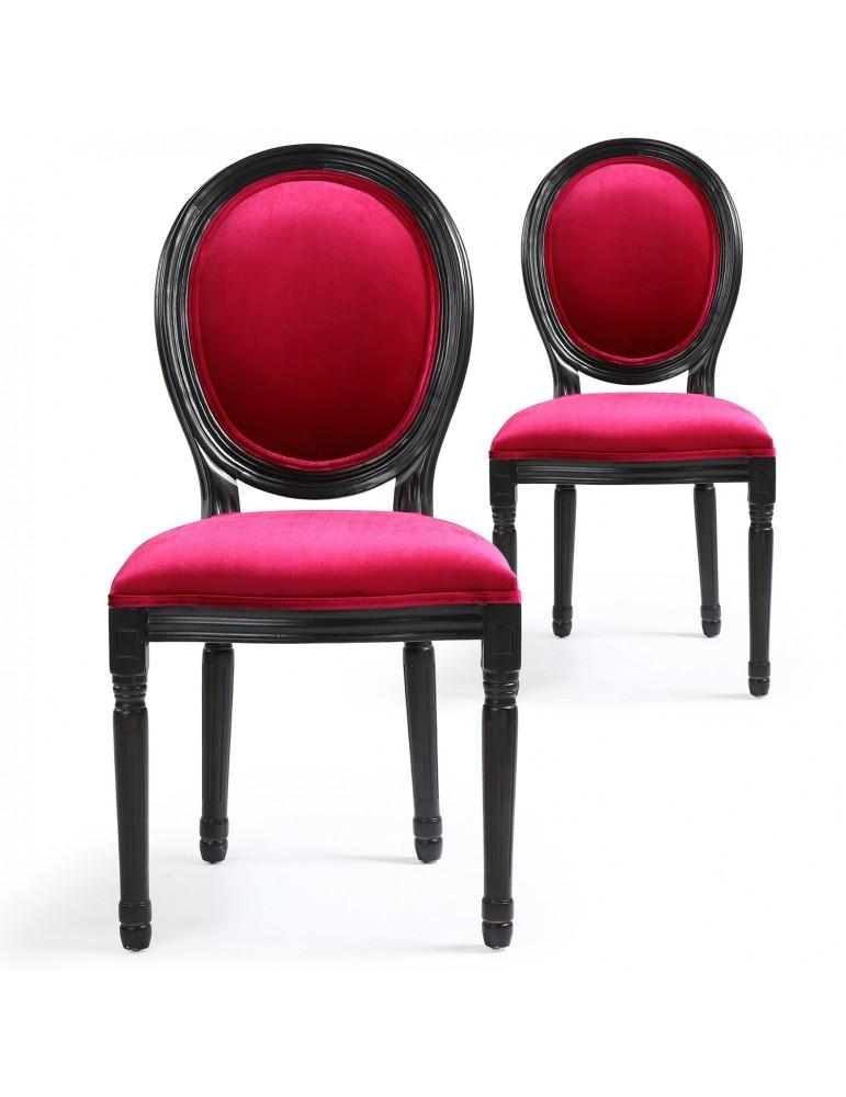 Lot de 2 chaises Louis XVI Black Velours Fuschia 24501blackvfuschia