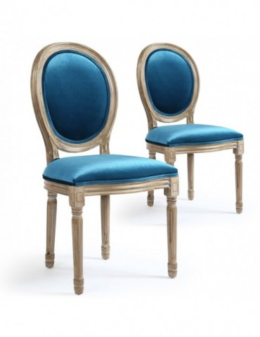 Lot de 2 chaises Louis XVI Velours Bleu 24501vbleu