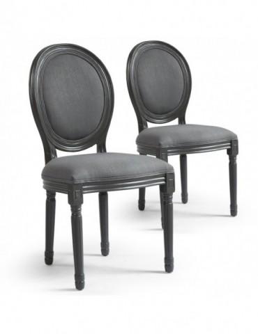 Lot de 2 chaises de style médaillon Louis XVI Gris Tissu Gris 24501ksfltgrey