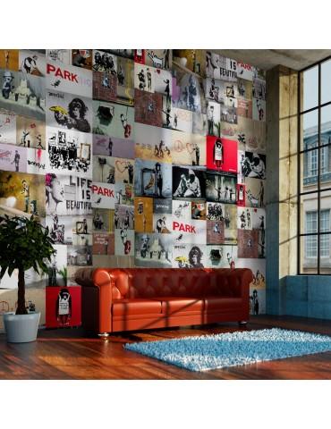 Papier peint - Banksy - a collage A1-WSR10m440-P