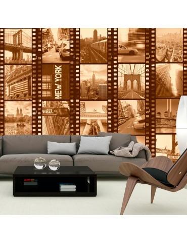 Papier peint - New York - Collage (sepia) A1-WSR10m757