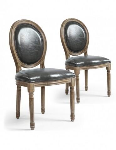 Lot de 2 chaises médaillon Louis XVI Simili (P.U) Gris 24501f011