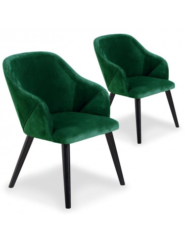 Lot de 2 fauteuils Liberto Velours Vert qh8929green56