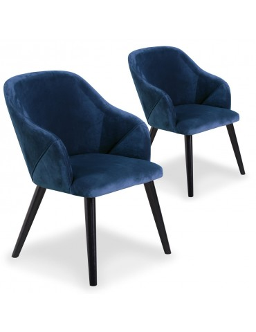 Lot de 2 fauteuils Liberto Velours Bleu qh8929blue63