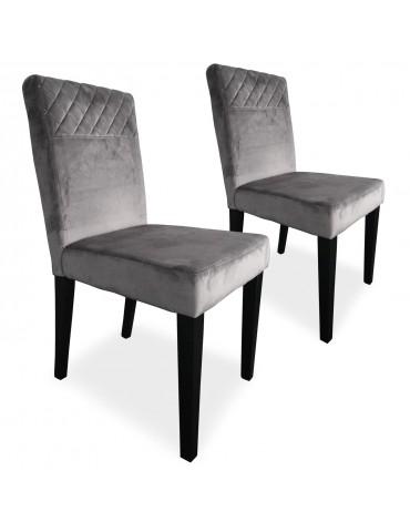 Lot de 2 chaises matelassées Milo Velours Argent wh1750velvetsilver