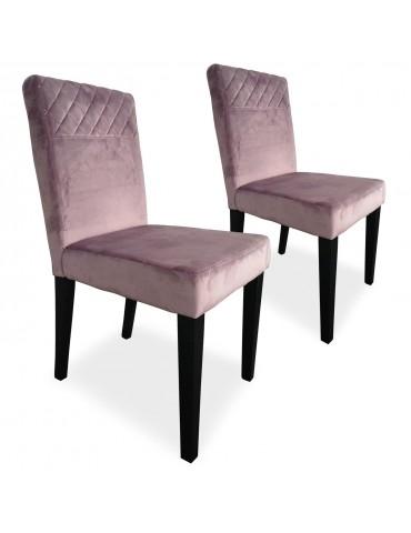 Lot de 2 chaises matelassées Milo Velours Rose wh1750velvetpink