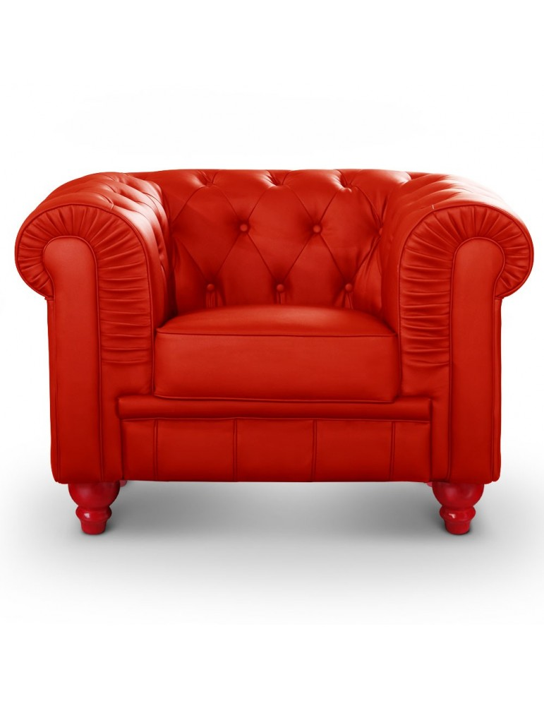 Fauteuil Chesterfield Rouge A605-1-Rouge