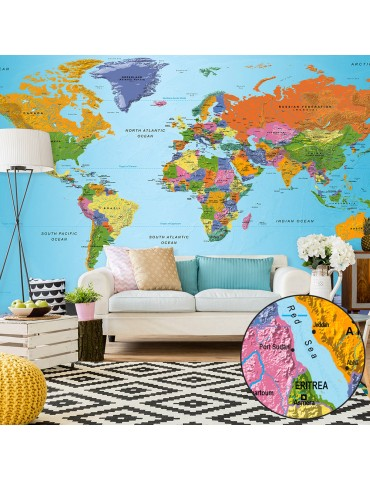 Papier peint XXL - World Map: Colourful Geography II A1-500x280new1371