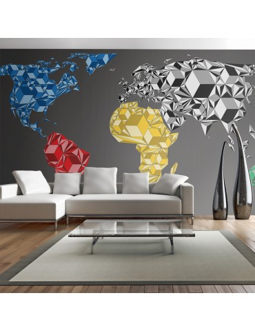 Papier peint XXL - Map of the World - colorful solids A1-F5TNT0080-P