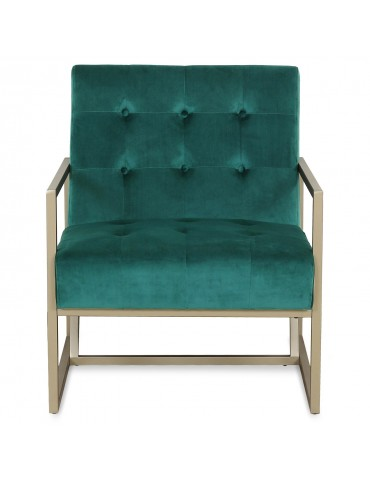 Fauteuil Texas velours Vert pieds Or lf0138hlr64