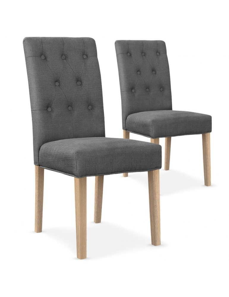 Lot de 2 chaises Costel Tissu Gris hy901rtissugrisclair