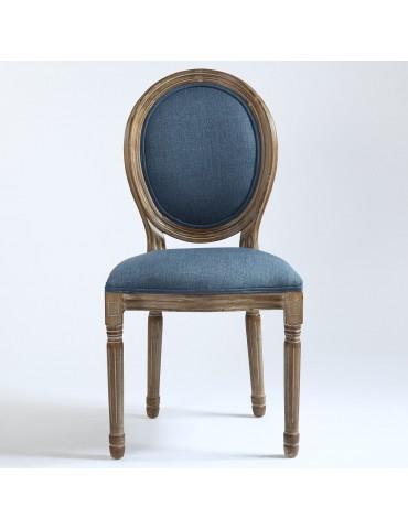 Lot de 20 chaises de style médaillon Louis XVI Tissu Bleu 24501ksf25013lot20