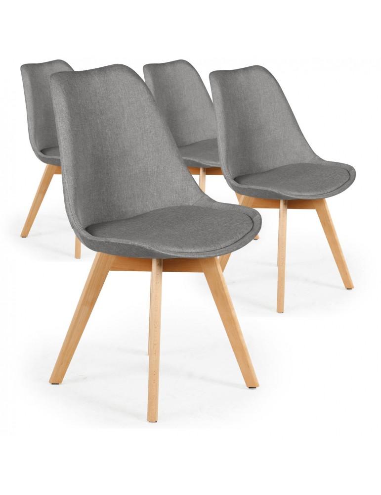 Lot de 4 chaises scandinaves Conor tissu Gris cy1602fabricgrey