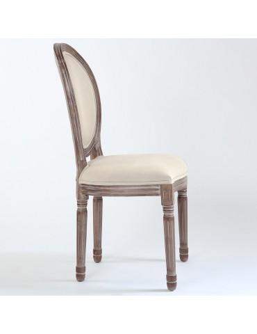 Lot de 20 chaises médaillon Louis XVI Tissu Beige 2450132lot20beige