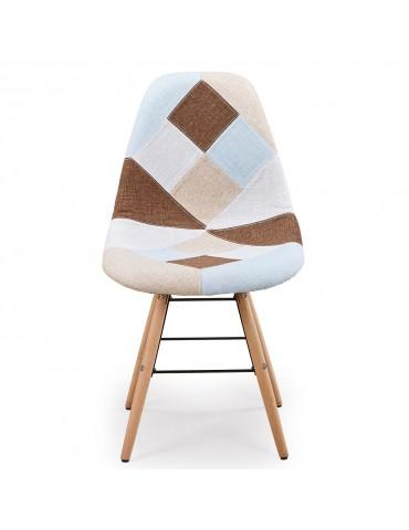 Lot de 2 chaises scandinaves Lisa Patchwork Beige c808beige