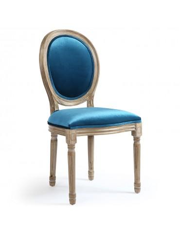 Lot de 2 chaises Louis XVI Velours Bleu 24501vbleu