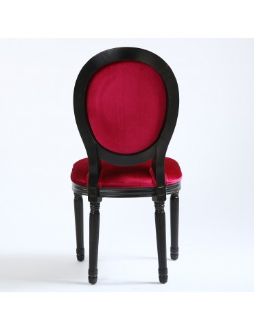 Lot de 2 chaises Louis XVI Black Velours Fuschia 24501blackvfuschia