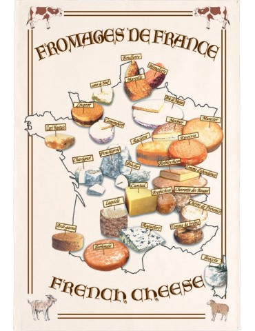 Torchon Carte Fromages 8491065000Torchons & Bouchons