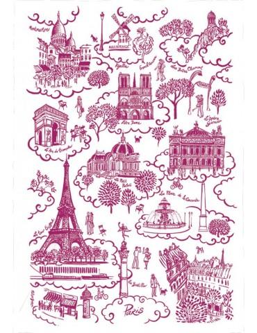 Torchon Paris Toile de Jouy Rouge 8491250000Torchons & Bouchons