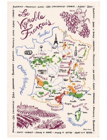 Torchon La Carte Des Vins de France Ecru 9008015000Torchons & Bouchons