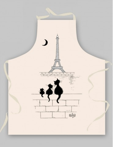 Tablier Chats Tour Eiffel Ecru 9018015000Torchons & Bouchons