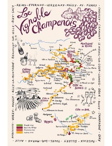 Torchon Carte de La Champagne Ecru 2223010000Torchons & Bouchons