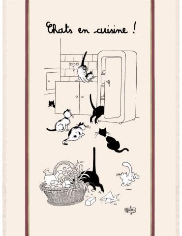 Grand Torchon Dubout Chats En Cuisine Ecru 60 X 80 3051110000Torchons & Bouchons