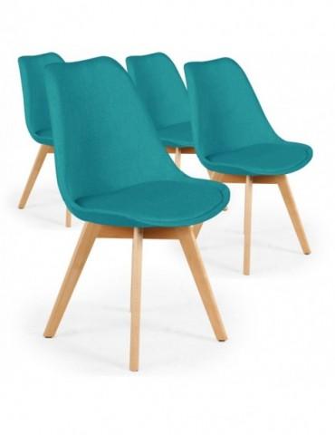 Lot de 4 chaises scandinaves Conor tissu Bleu vert cy1602fabricblue