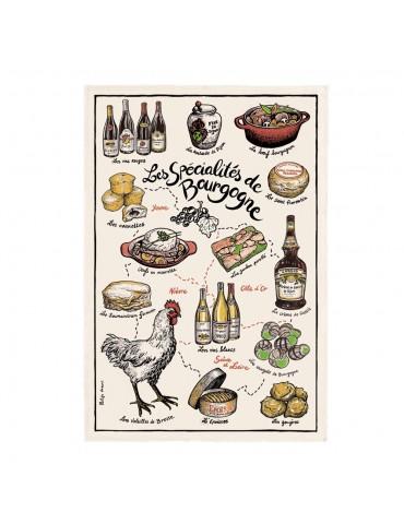 Torchon Imprime Specialités de Bourgogne Ecru 48 X 72 2120010000Torchons & Bouchons