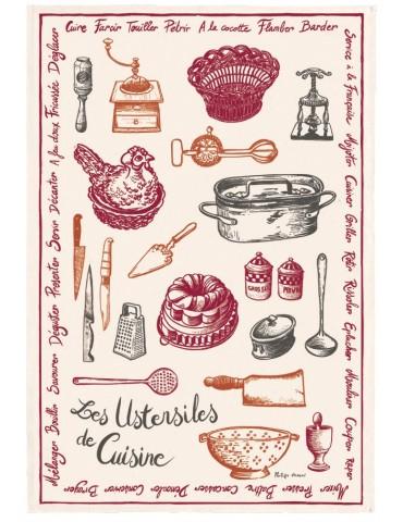 Torchon Imprimé Ustensiles de cuisine Écru 48 x 72 6581010000Torchons & Bouchons