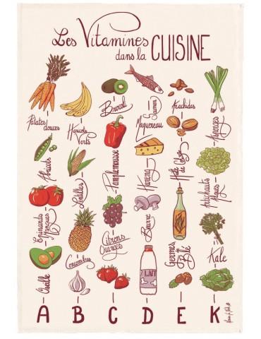 Torchon imprimé Les vitamines Ecru 48 x 72 2398010000Torchons & Bouchons