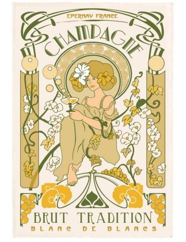 Torchon Champagne Art Déco Ecru 48 x 72 3051097000Torchons & Bouchons