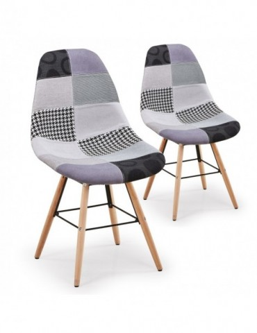Lot de 2 chaises scandinaves Lisa Patchwork Gris c808gris