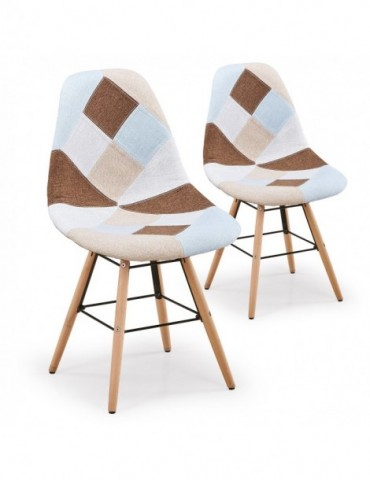 Lot de 2 chaises scandinaves Lisa Patchwork Beige c808beige