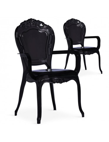 Lot de 2 chaises royales Cosy Crown Plexi Noir cnpc1007black