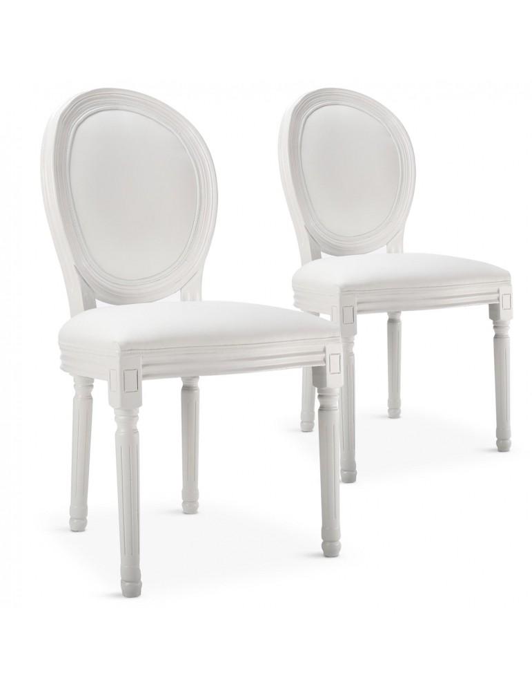 Lot de 20 chaises médaillon Louis XVI Simili (P.U) Blanc 24501lot20publanc