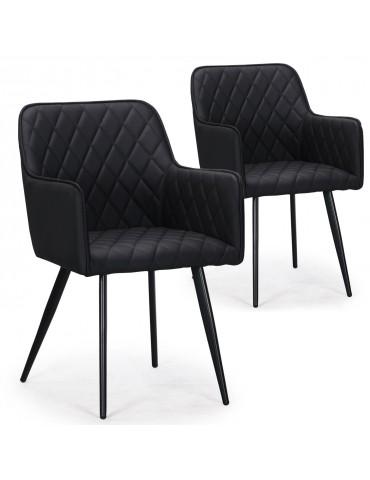 Lot de 2 chaises Clark simili Noir c930blackpu